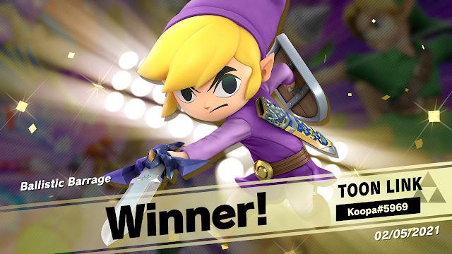 Super Smash Bros. Ultimate Ballistic Barrage projectile event online tourney Toon Link winner