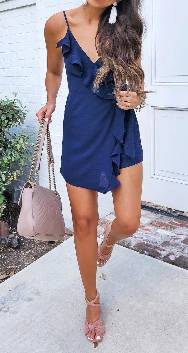 stylish look   blue ruffle dress + blush bag + heels