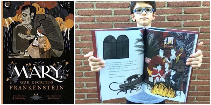 Libro infantil niños halloween Mary que escribió Frankenstein, impedimenta