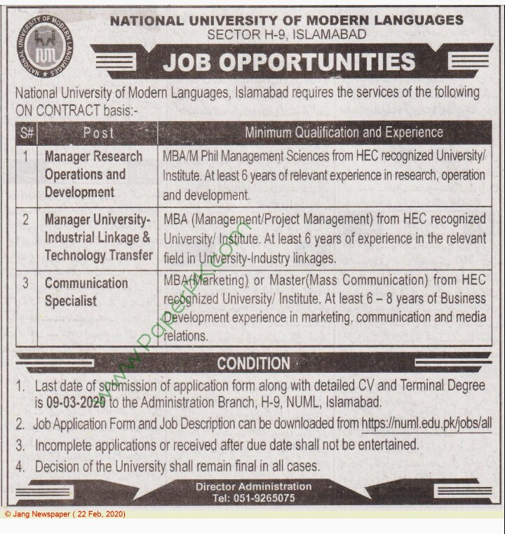 National University Of Modern Language Jobs 2020