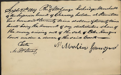 Martin Hanger's Receipt Augusta Co. VA Chancery Cause 1819-0003