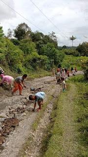 Jalan Rusak Tak Kunjung di Perbaiki, Warga Desa Sipagabu Gotong Royong Untuk Memperbaiki