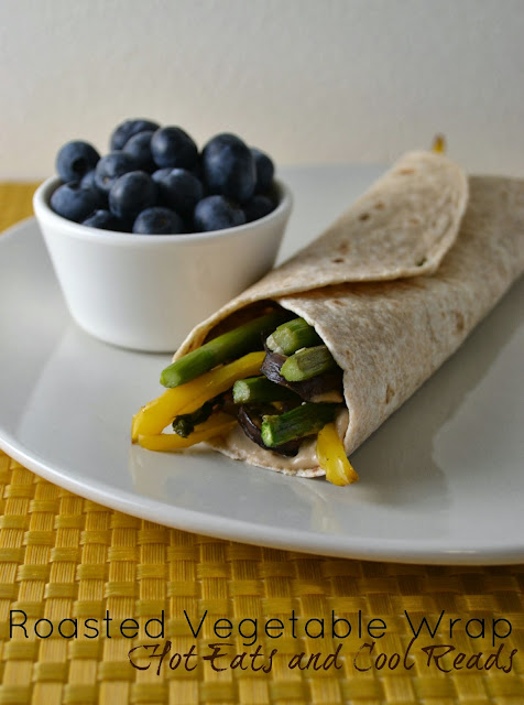 This healthy wrap is a delicious lunch or dinner option! It's savory flavors come from onions, bell peppers, rosemary, balsamic, garlic and hummus! Roasted Mushroom and Asparagus Vegetable Wraps Recipe  from Hot Eats and Cool Reads