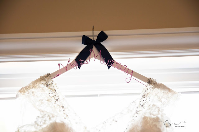 Wedding gown photos with custom hanger