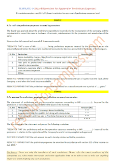 format of board resolution for approval of preliminary expenses