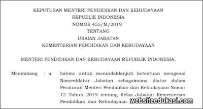 Kepmendikbud 455/M/2019 tentang Uraian Jabatan Kemendikbud