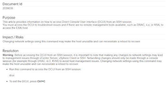 How to access DCUI in SSH