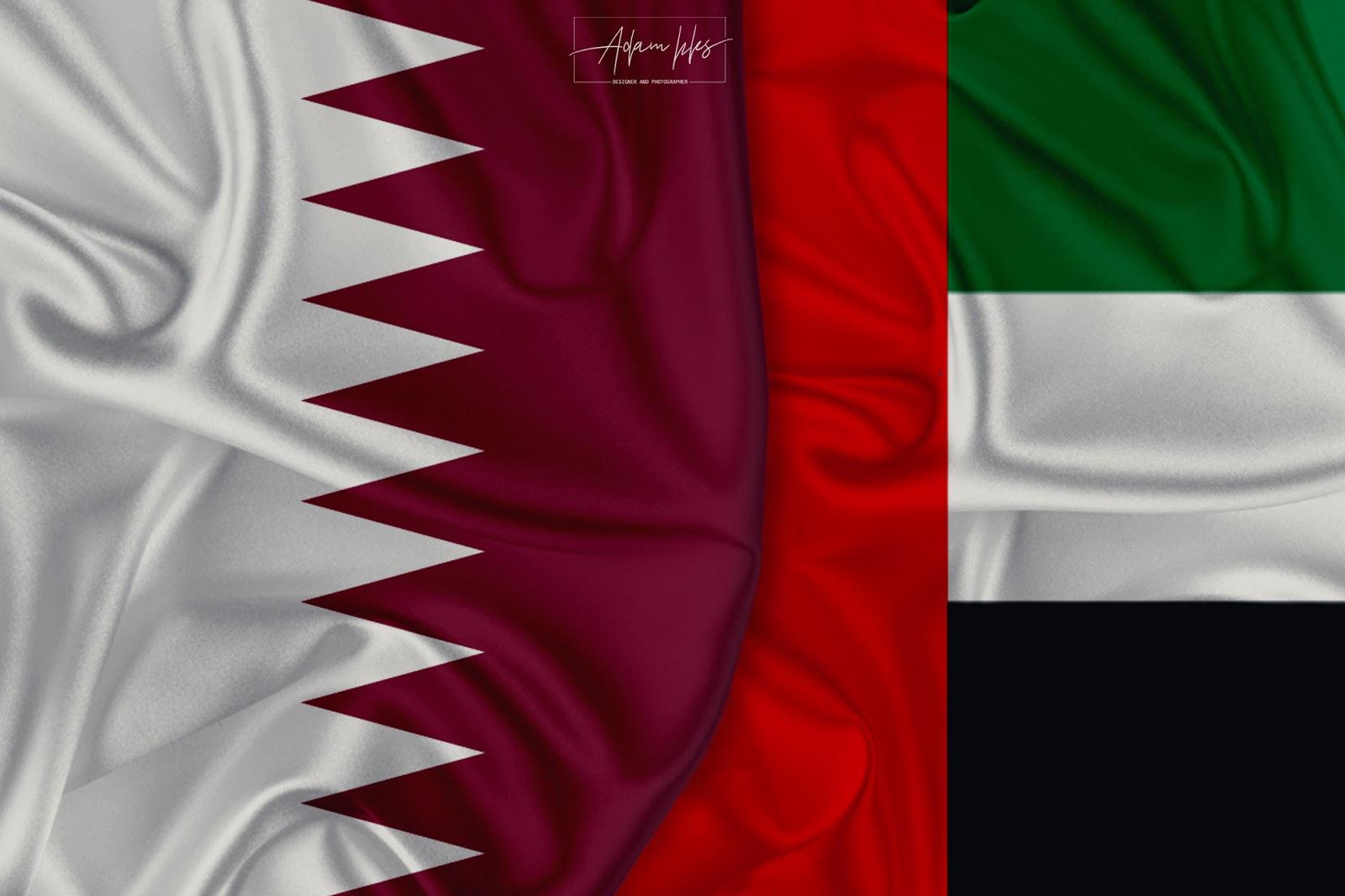 علم قطر وعلم الامارات