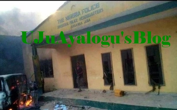 LATEST Chaos in Abia as suspected IPOB members burn police station (photo)