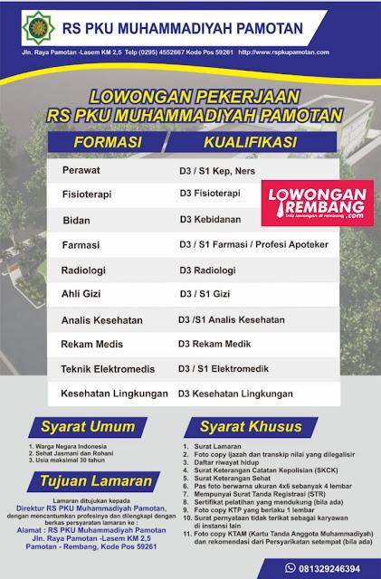 Lowongan Kerja Tenaga Kesehatan RS PKU Muhammadiyah Pamotan  Rembang