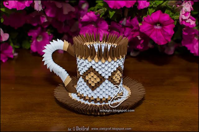 468. Filiżanka kawowa z origami / 3d origami coffee cup