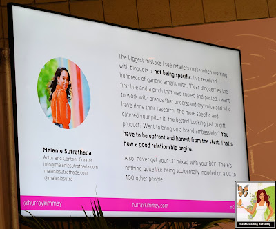 "@HurrayKimmay ""How Retailers Can Work with the Media and Influencers"" panel at CURVEXPO CURVE NEW YORK Melanie Sutrathada quote slide"
