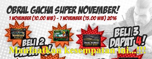 Promo PB Garena..!! Obral Gacha Super November, Murah Meriah