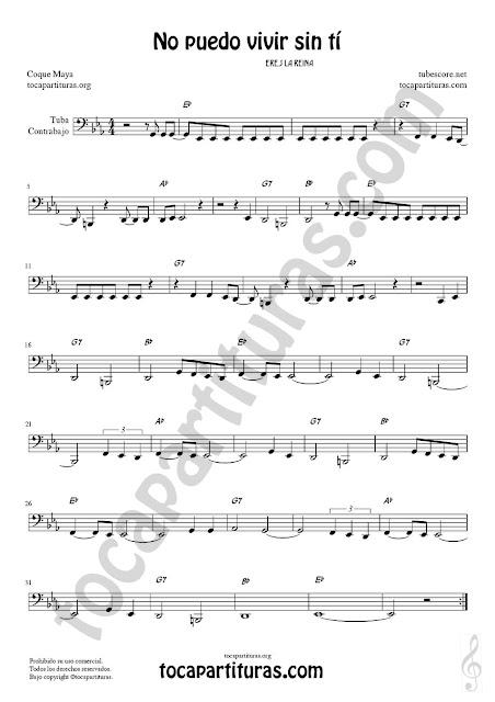 Partitura de Tuba y Contrabajo (Clave de Fa en 8ª Baja) No puedo vivir sin tí Sheet Music for Contrabass y Tuba Music Score