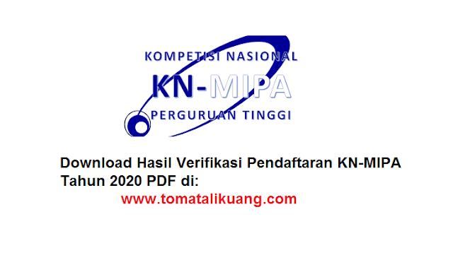 Download Hasil Verifikasi Pendaftaran KN-MIPA Tahun 2020 PDF tomatalikuang.com