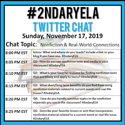Join secondary English Language Arts teachers Sunday evenings at 8 pm EST on Twitter. This week's chat will be about nonfiction and real-world connections.