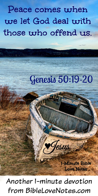 Genesis account of Joseph and his brothers, Genesis 50:19-20, forgiving