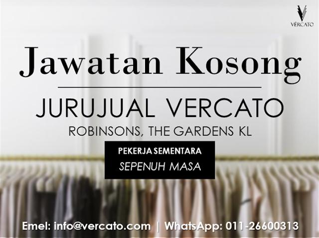 VERCATO: Jawatan Kosong Jurujual Fesyen Wanita Diperlukan di Robinsons Malaysia, The Gardens Mall, Kuala Lumpur