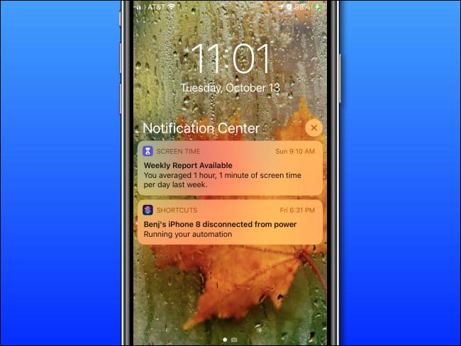 مثال على مركز الإشعارات على iPhone