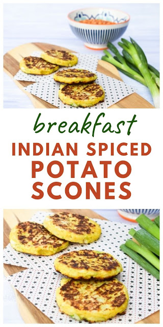 A simple recipe which uses leftover cooked potatoes to make the most wonderful potato scones, which are lightly spiced and perfect to add to a cooked breakfast, light lunch or as a dinner side dish. #potatoscones #tattiescones #indianpotatoscones #potatocakes #potatoes #breakfastrecipes #breakfast #leftovers #leftoverpotatoes #mashedpotatoes