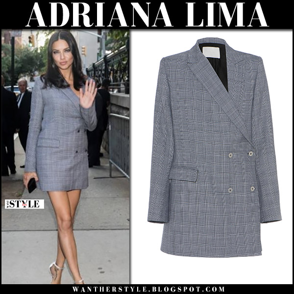 Adriana Lima in grey check print blazer dress dion lee september 11 2017 new york fashion week