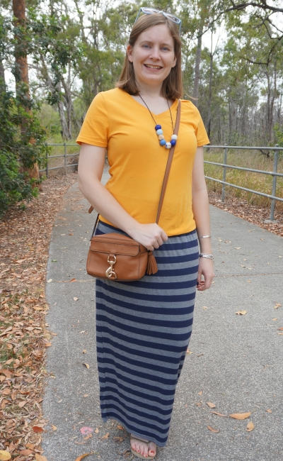 mustard tee with navy stripe maxi skirt rebecca minkoff mab bag summer mum style | awayfromblue