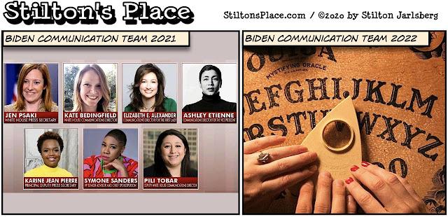 stilton's place, stilton, political, humor, conservative, cartoons, jokes, hope n' change, lefty lucy, biden, communication team, women, ouija board