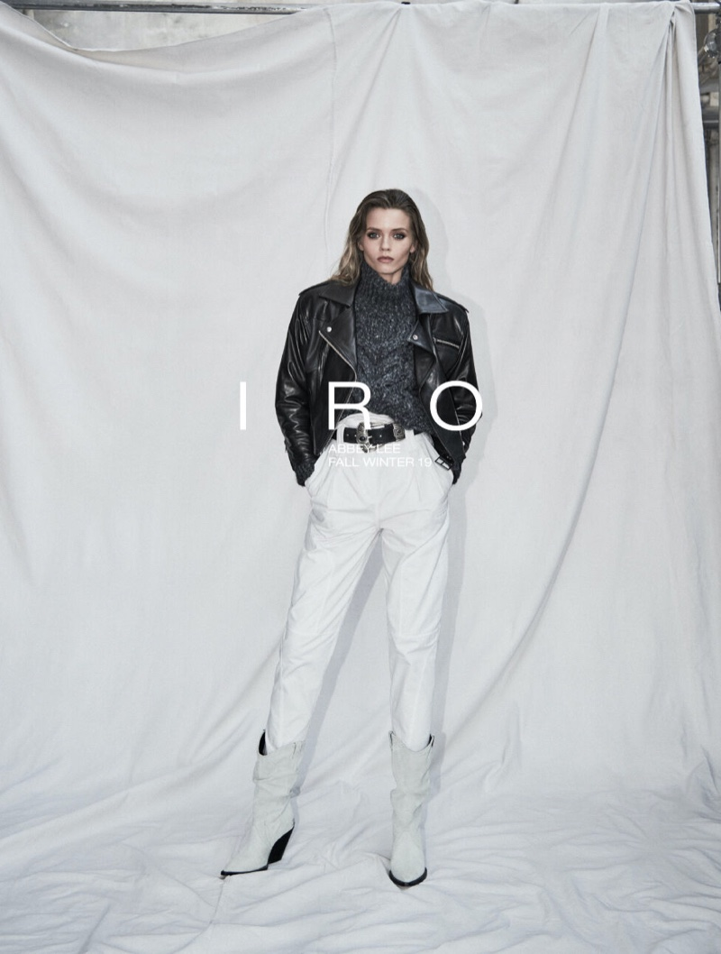 Abbey Lee Kershaw poses in casual styles for IRO fall-winter 2019 campaign
