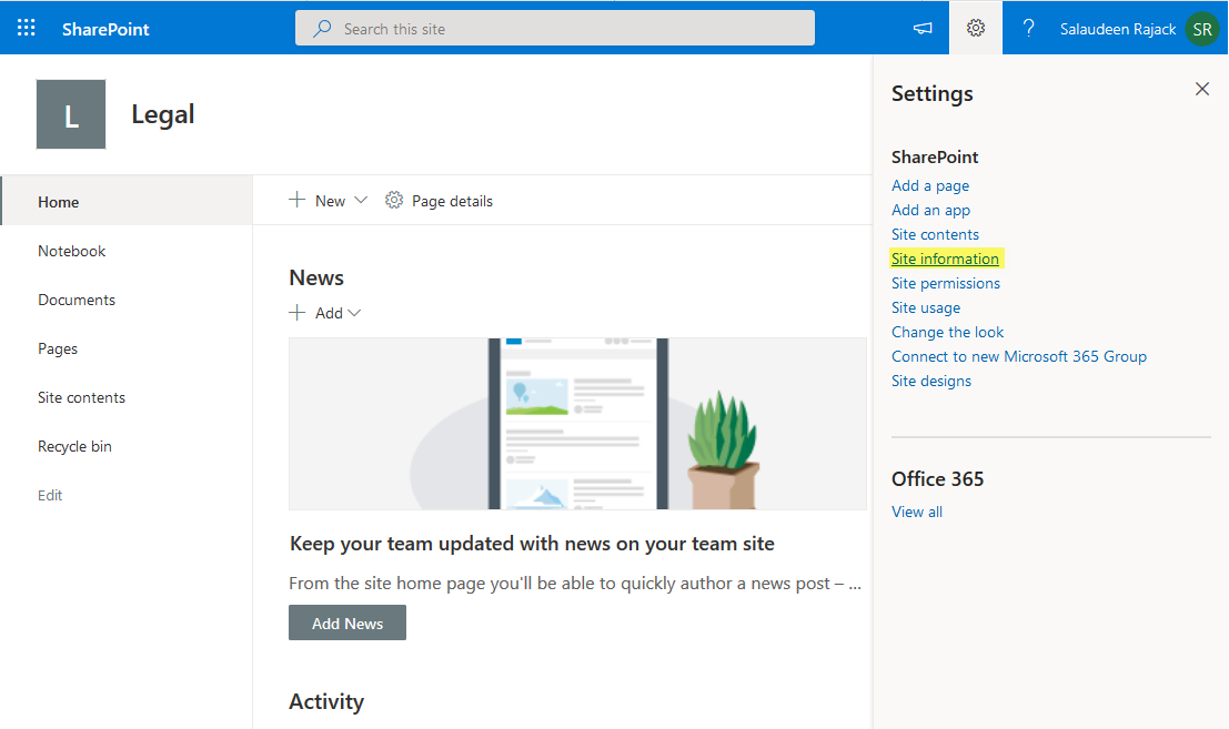 sharepoint online how to change site logo
