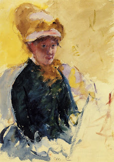 Self portrait by Mary Cassatt. More detailed description follows in caption.