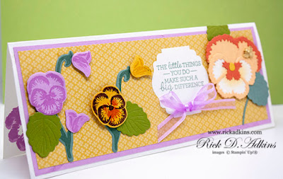 Learn about my Pansy Patch Slimline Card that I am showcasing today on my blog and the products used to make it.  Click here