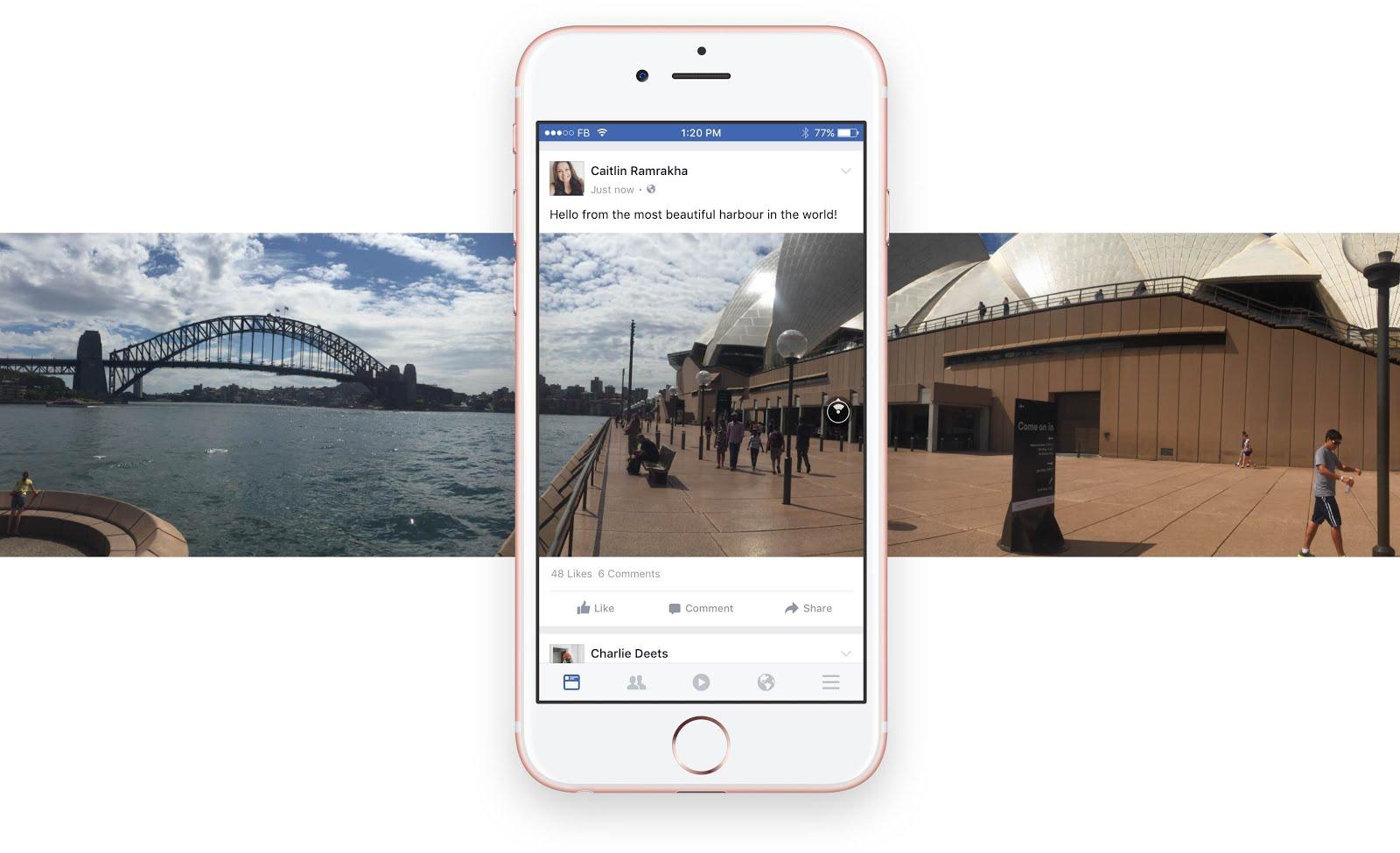 الصور البانورامية في الفيسبوك على الايفون