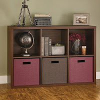 decorative storage shelves idea with purple and brown boxes