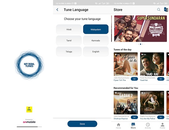 My BSNL Tunes app to activate your favourite song as Caller Tune