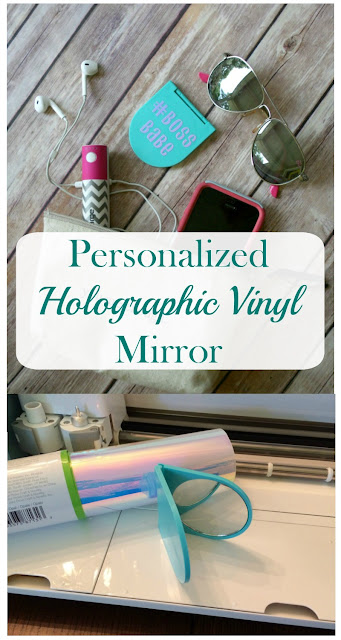 Make sure you are camera ready with a personalized compact mirror, using holographic vinyl and your Cricut.