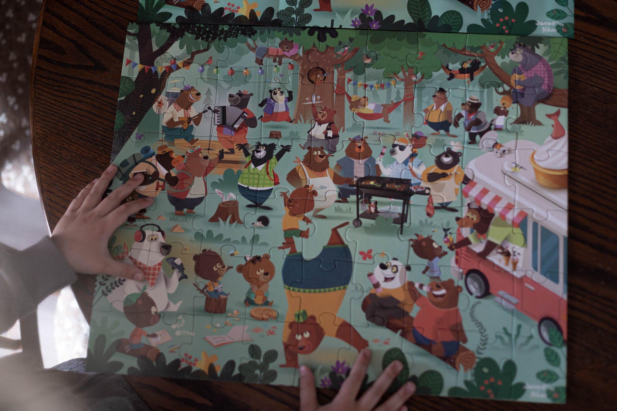 Puzzle w walizce Rodzina misiów