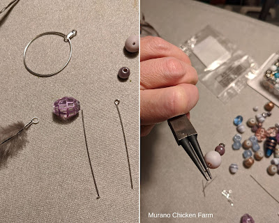 Beads and feathers for making a feather necklace