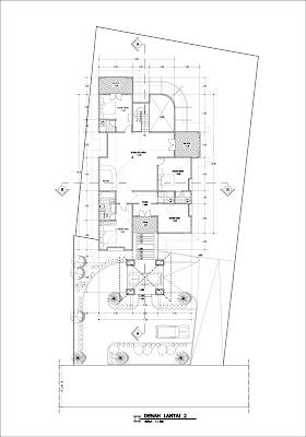 Denah lantai 2 rumah pada tanah berkontur