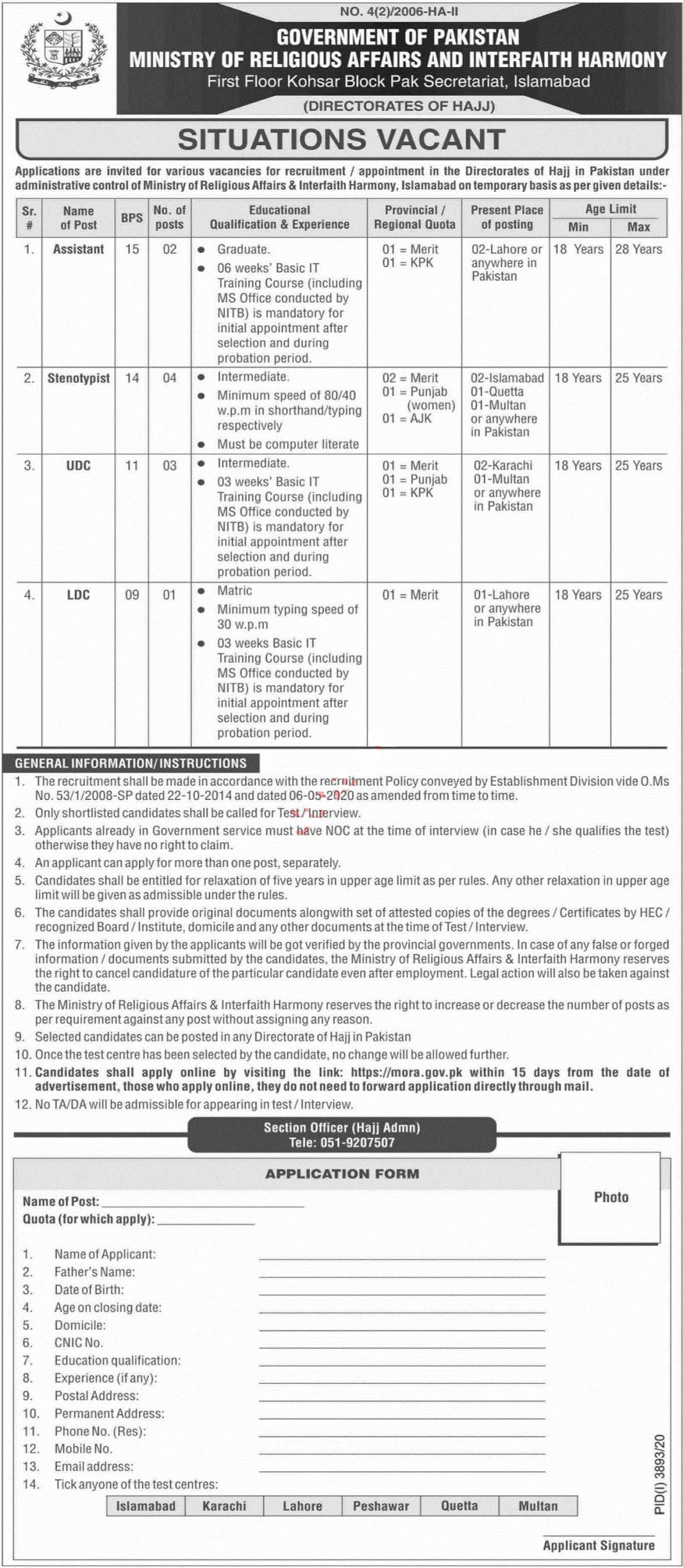 Ministry of Religious Affairs & Interfaith Harmony Jobs 2021 for Assistant, Stenotypist, UDC, LDC, Clerk