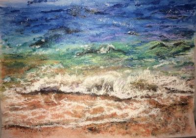 peinture de Karine Babel, bord de plage
