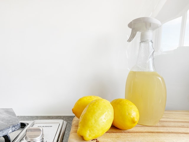 A cleaner made from lemon acid that you should use to clean your apartment once you're finished with adaptations for seniors.