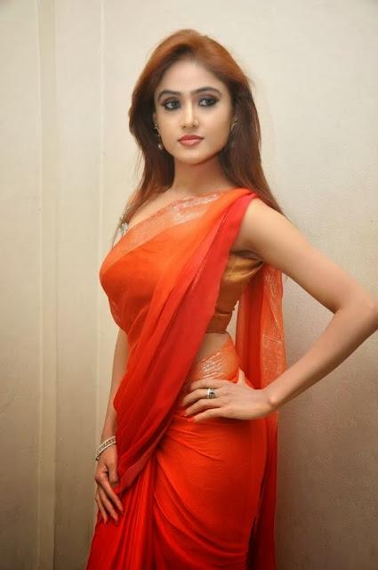Sony Charishta In Orange Saree