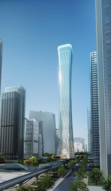 Rendering of China Zun (CITIC Plaza) by TFP Farrells, Beijing, China as seen from the street along with other buildings