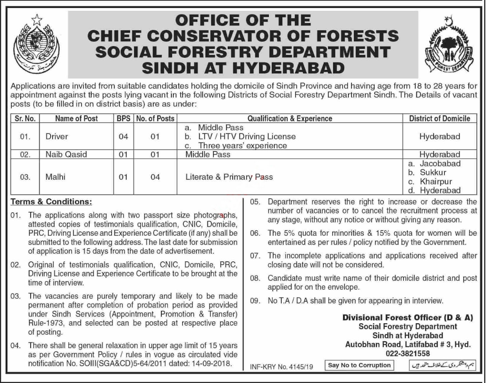 Social Forestry Department Sindh Jobs 2019