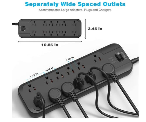 VINTAR 6ft Long Extension Power Strip with 12 AC Outlets