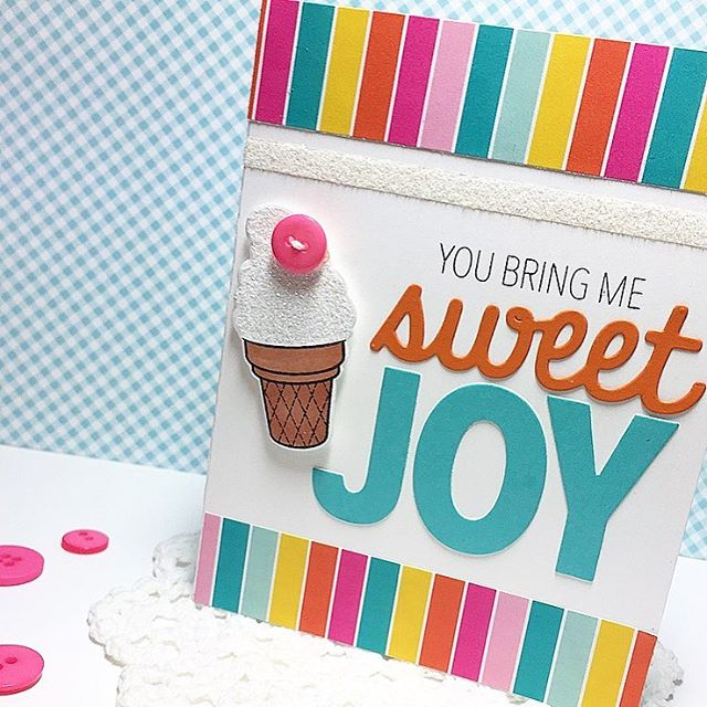 "Sunny Studio Stamps: Sweet Shoppe ""You Bring Me Sweet Joy"" Ice Cream Cone Card by Melissa Bickford."