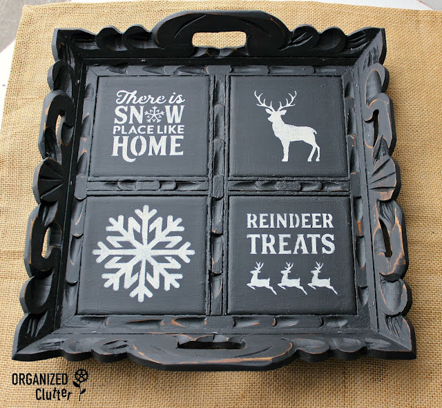 Upcycled Serving Tray with Paint & Stencils #slickstick #dixiebellepaint #caviar #stencil #servingtray #upcycle