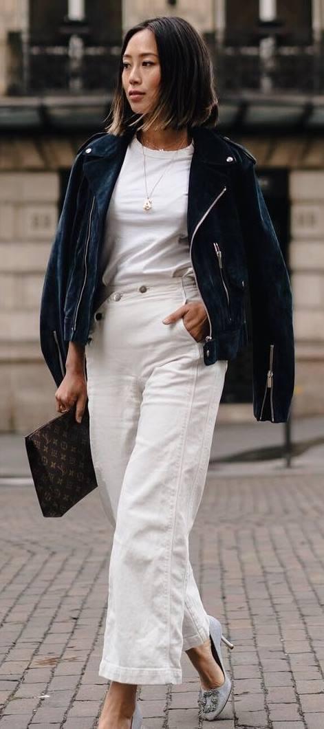 fall fashion outfit / bag + heels + white pants + top + jacket
