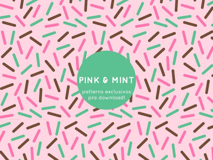 Pink e Mint - Padrões comemorativos de aniversário