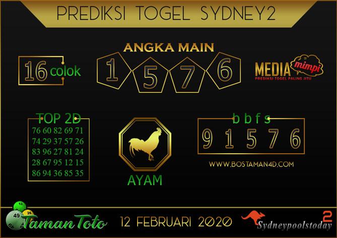 Prediksi Togel SYDNEY 2 TAMAN TOTO 12 FEBRUARY 2020